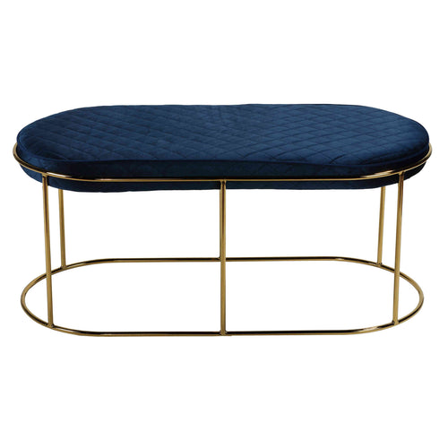 Cortesi Home Ludlow Bench Ottoman in Blue Velvet and Brushed Gold