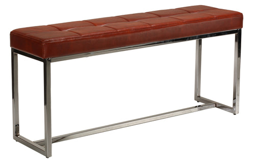 Cortesi Home Livio Contemporary Narrow Tufted Bench, Brown Leather like Vinyl