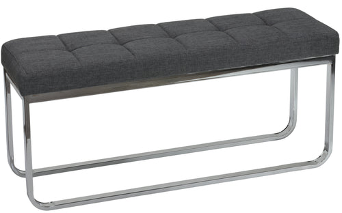 Cortesi Home Nola Contemporary Narrow Bench in Grey Linen Fabric with Rounded Polished Stainless Steel Legs