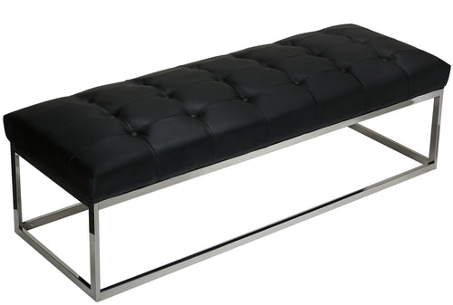 Cortesi Home Biago Contemporary Oversized Tufted Long Bench, Black Leather Like Vinyl