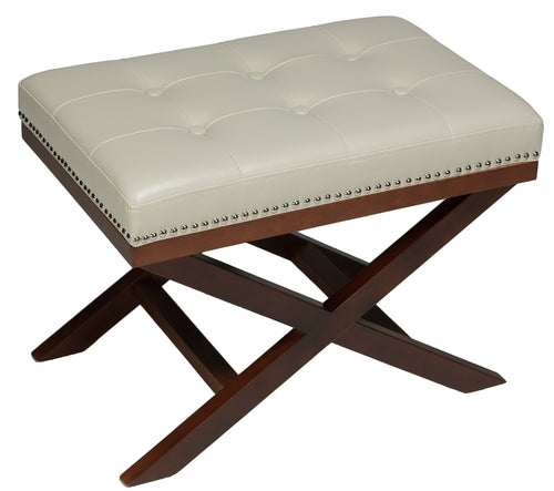 Cortesi Home Kayla Traditional X Bench Ottoman in Vinyl with Nailhead Trim, Cream