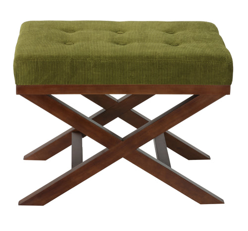 Cortesi Home Kayla Traditional X Bench Ottoman in Earth Green Corduroy Fabric