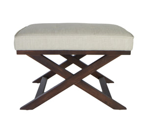 "Cortesi Home Ari ""X"" Bench Ottoman in Linen Fabric with Walnut Wood Legs, Beige"