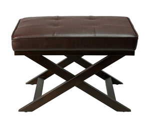 Cortesi Home Ari Brown X Bench Ottoman in Bonded Leather with Dark Cappuccino Wood Legs