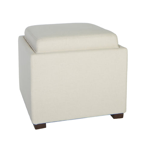 Cortesi Home Mavi White Tray Top Storage Cube Ottoman in Linen Fabric