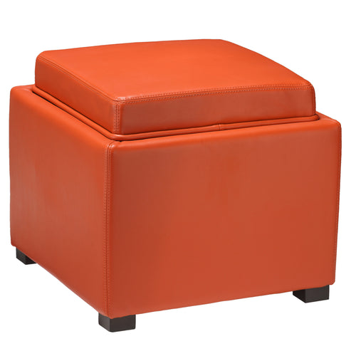 Cortesi Home Mavi Storage Tray Ottoman in Bonded Leather, Orange