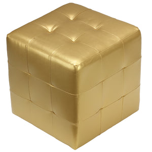Cortesi Home Apollo Cube Ottoman, Metallic Gold