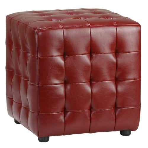 Cortesi Home Izzo Tufted Cube Ottoman in Cherry Red Bonded Leather