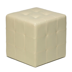 Cortesi Home Braque Tufted Cube Ottoman in Ivory Faux Leather