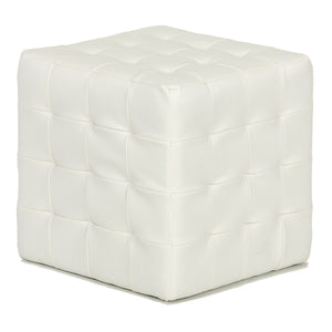 Cortesi Home Jojo White Tufted Cube Ottoman in Faux Leather
