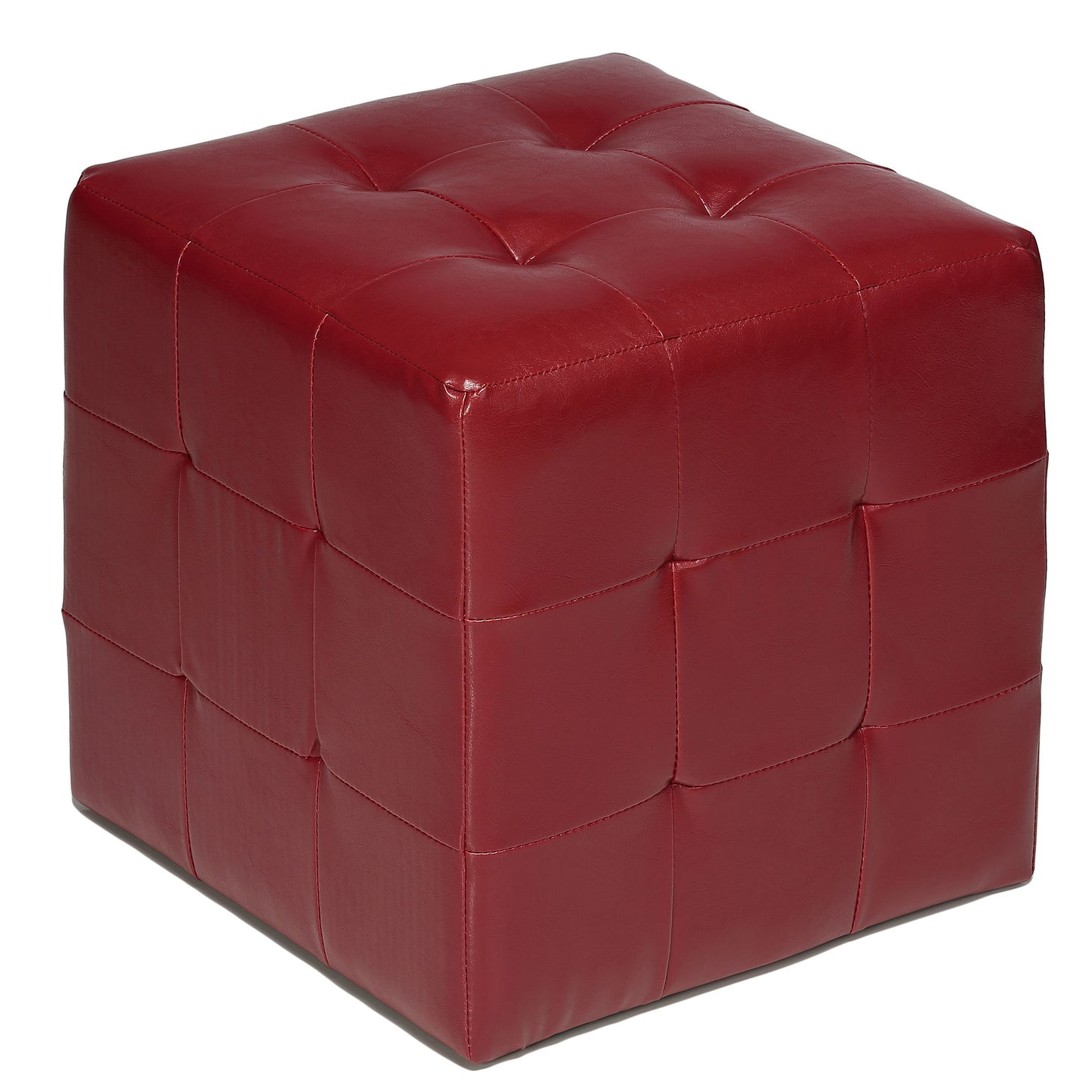 Cortesi Home Braque Red Tufted Cube Ottoman in Leather like Vinyl