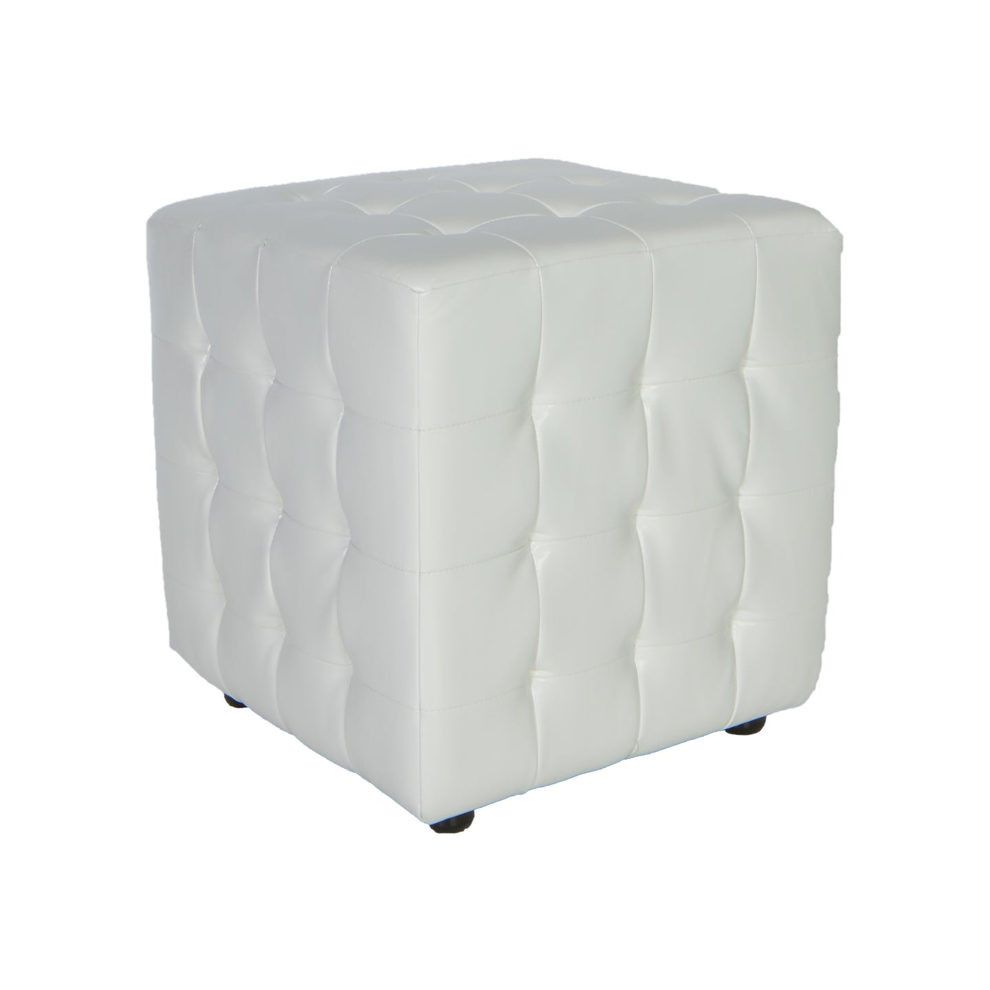 Cortesi Home Izzo Tufted Cube Ottoman in Pure White Bonded Leather