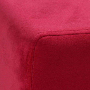 Cortesi Home Dover Square Ottoman in Pink Velvet, Brushed Gold