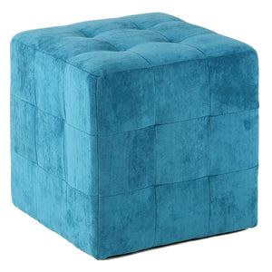 Cortesi Home Braque Tufted Cube Ottoman in Blue Fabric