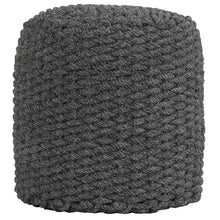 Cortesi Home Augusta Round Rope Pouf Ottoman, Grey Fabric
