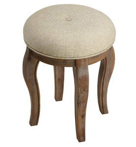 "Cortesi Home ""Versailles"" Round Vanity Stool in Distressed Grey, 18"" Tall"