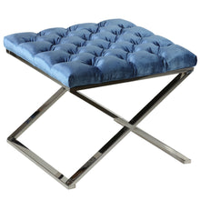 Cortesi Home Mariana Tufted Metal Ottoman, Blue, 21""
