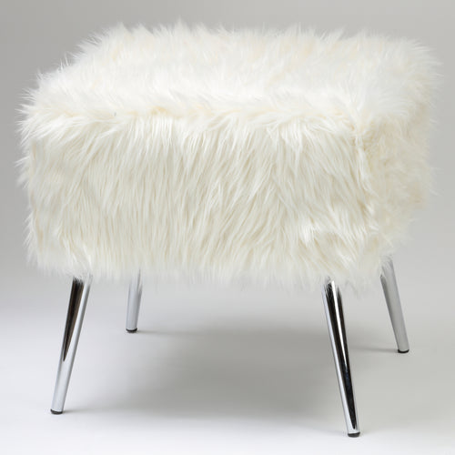 Cortesi Home Olivia White Faux Fur Ottoman, 20