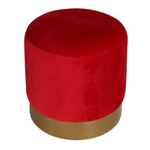 "Cortesi Home Sheppe Cylindrical Ottoman 18"", Red Velvet with Gold Metal Base"