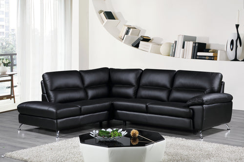 Cortesi Home Contemporary Boston Genuine Leather Sectional Sofa with Left Chaise Lounge, Black 80