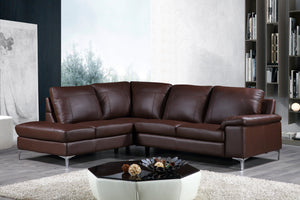 "Cortesi Home Contemporary Dallas Genuine Leather Sectional Sofa with Left Side Facing Chaise Lounge, Brown 80""x98"""