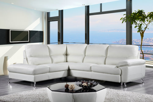 Cortesi Home Contemporary  Miami Genuine Leather Sectional Sofa with Left Facing Chaise Lounge, Cream 80