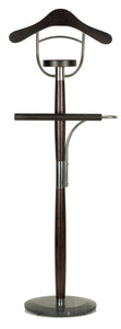 Cortesi Home Winfield Suit Valet Stand in Dark Walnut Wood, Dark Marble Base
