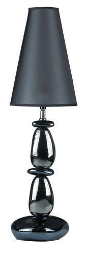 Cortesi Home Lava Table Lamp, Chrome and Blue with Black Shade