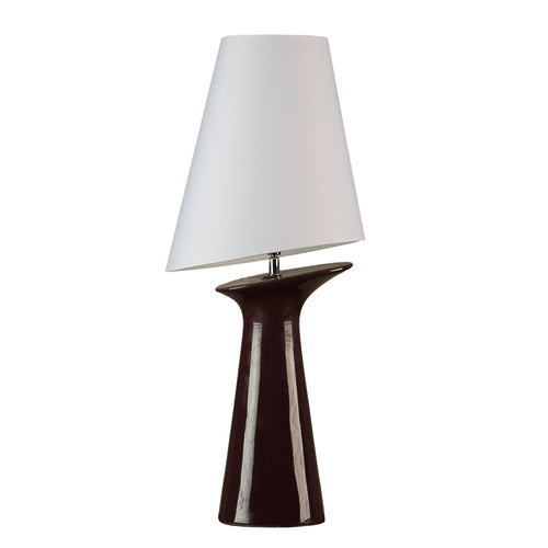 Cortesi Home Torini Table Lamp in Deep Eggplant Purple Ceramic, White Shade