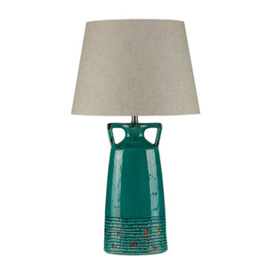 Cortesi Home Nantucket Table Lamp in Antique Teal Glazed Ceramic