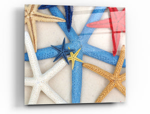 "Cortesi Home Starfish Wishes Tempered Glass Wall Art, 12"" x 12"" (Set of 2)"