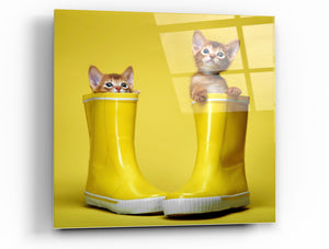 "Cortesi Home Puss in Boots Tempered Glass Wall Art, 12"" x 12"""
