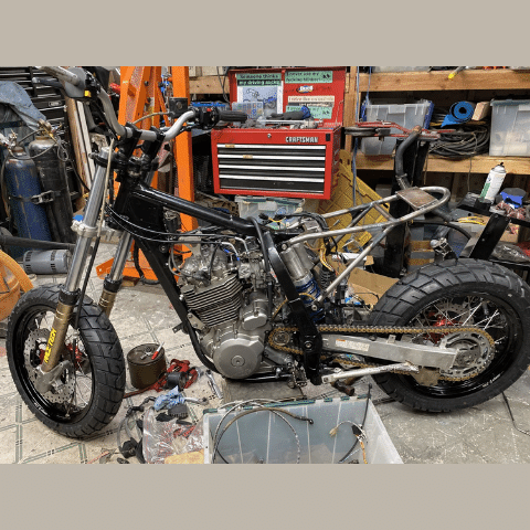 Handmade motorcycle built out of spare parts