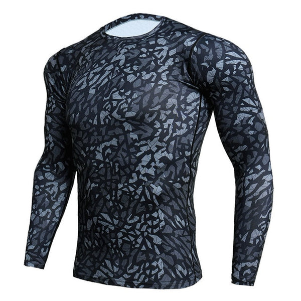 Mens Cool fit Long Sleeve Camo Compression Shirt for Workouts Grey Black