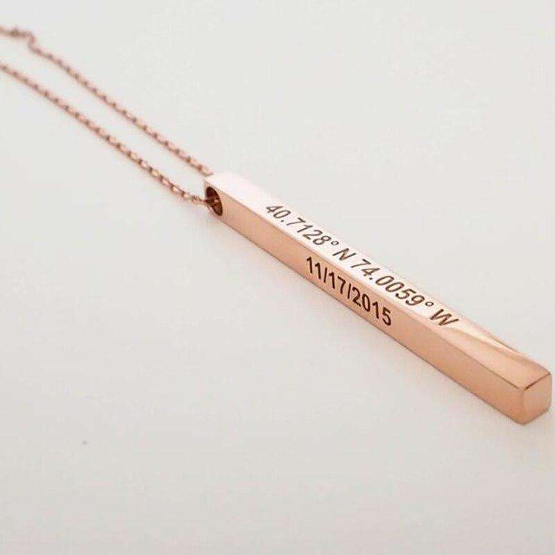 Engraved Bar Pendant Necklace