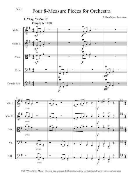 Free Resource: 8-Measure Pieces... now for Orchestra!