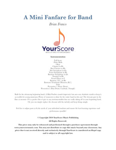 cover page of a mini fanfare for band, a customizable beginning band music pdf