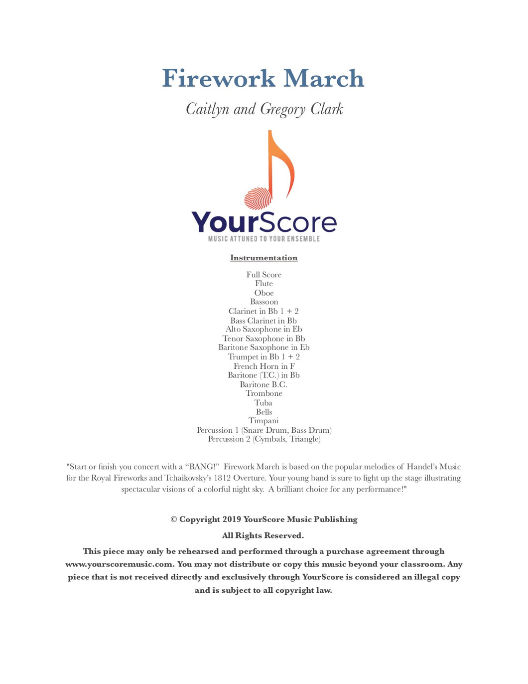 cover page of Firework March, a customizable beginning band piece