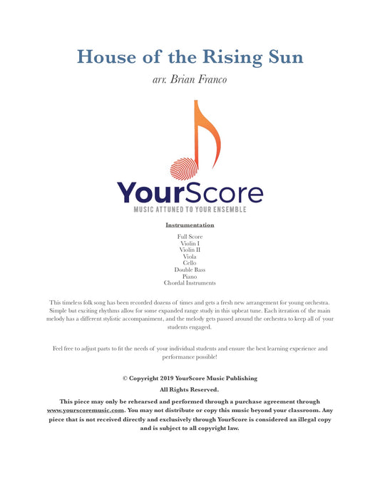cover page of House of the Rising Sun, an adaptable elementary orchestra music. YourScore logo and descriptive text.
