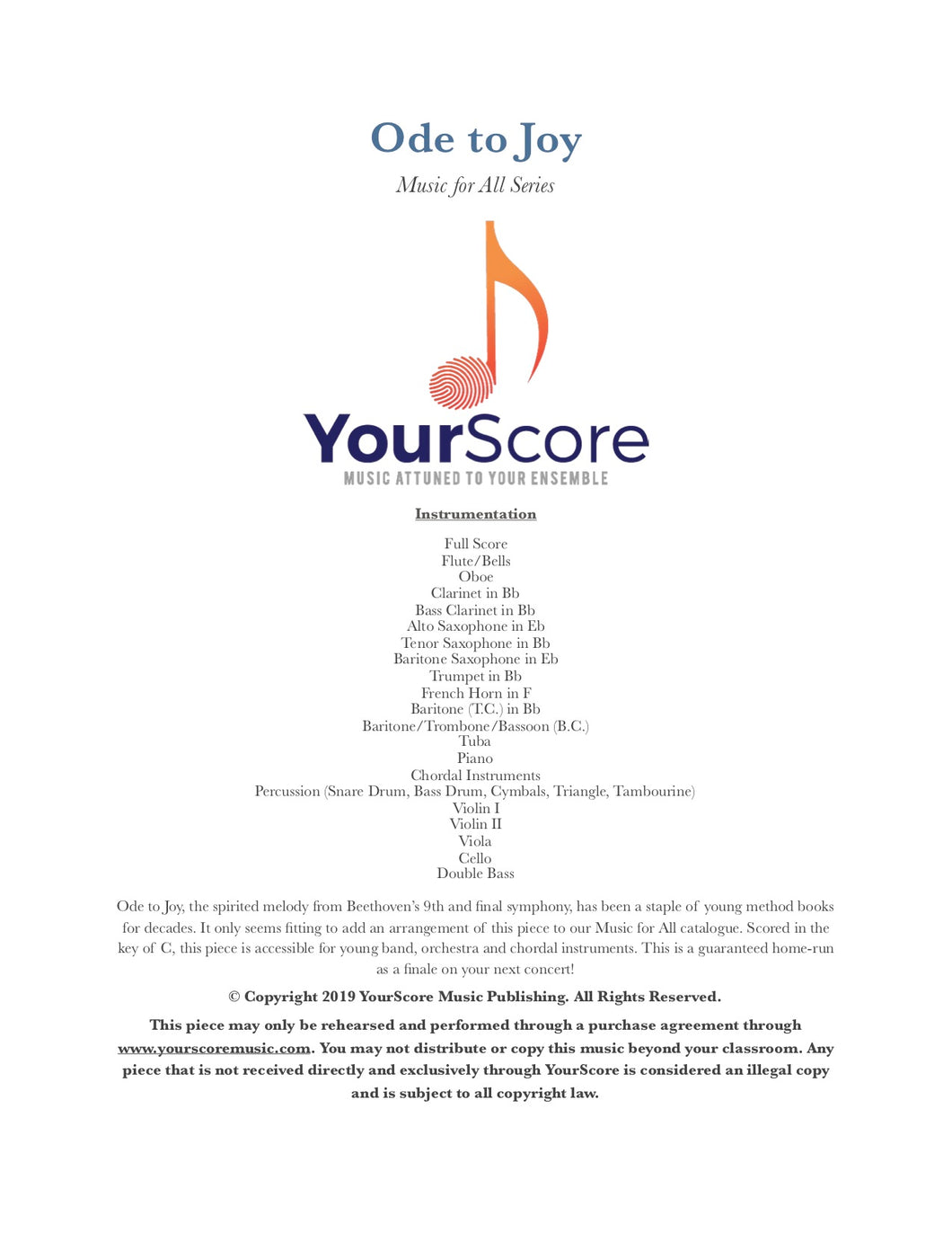 cover of Ode To Joy, an adaptable Elementary Band and Orchestra piece written by Brian Franco