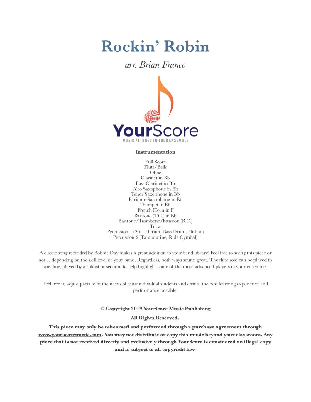 Cover of Rockin' Robin, an adaptable elementary band piece arranged by Brian Franco
