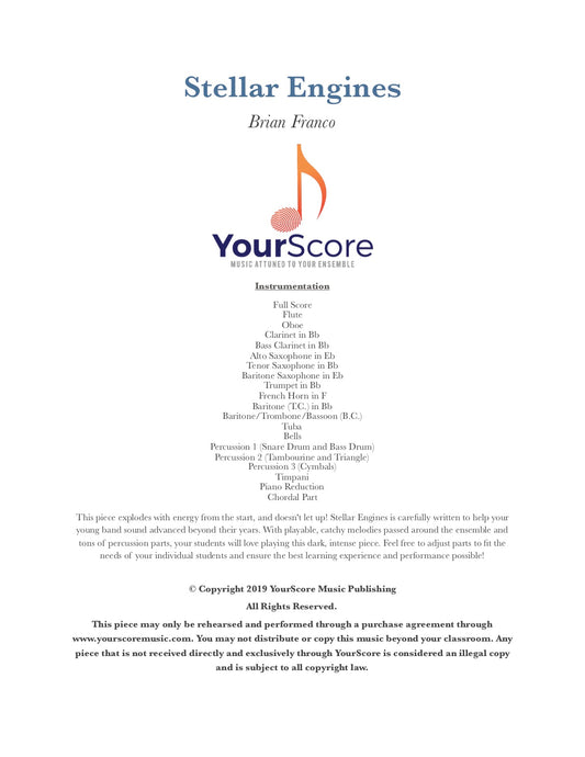 Cover of Stellar Engines, an adaptable middle school band piece written by Brian Franco