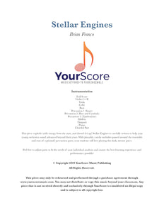 cover of Stellar Engines, an adaptable piece of middle school orchestra music written by Brian Franco