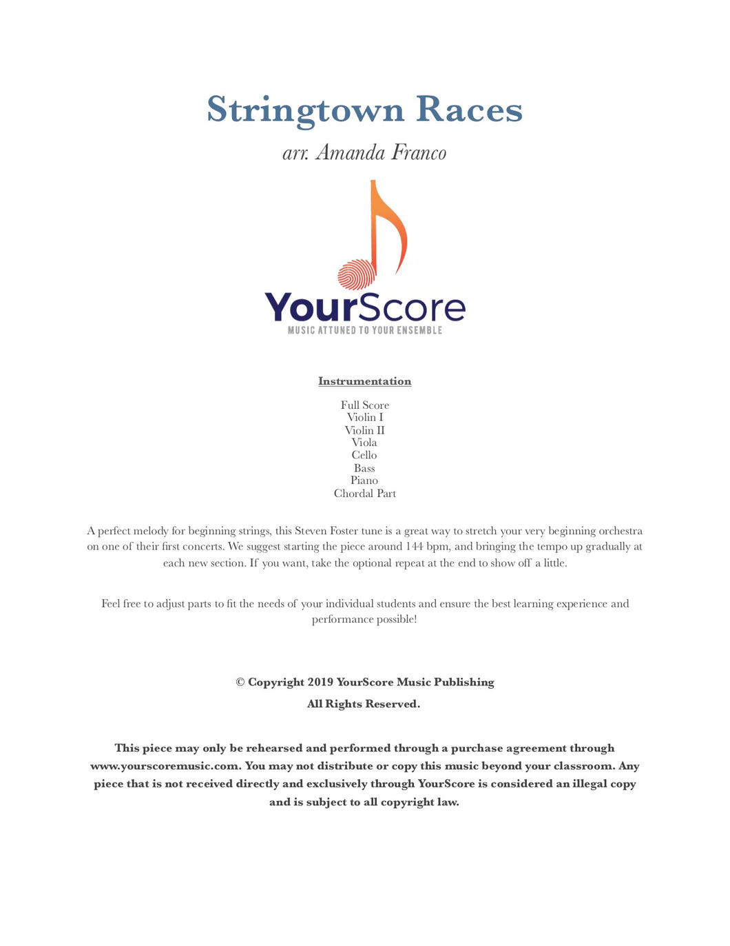 cover of Stringtown Races, an adaptable piece of beginning orchestra music by Amanda Franco