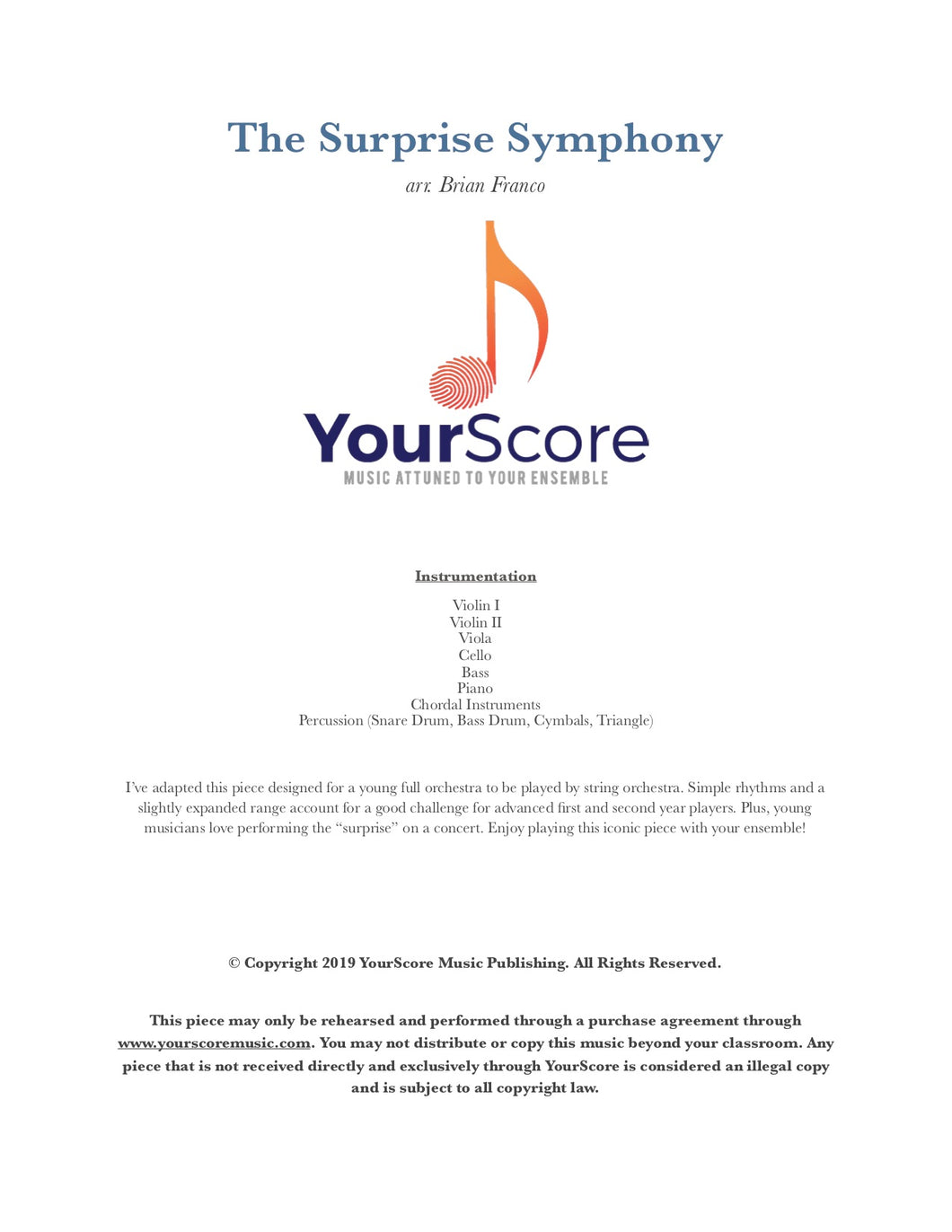 cover of The Surprise Symphony, an adaptable piece of elementary orchestra music arranged by Brian Franco