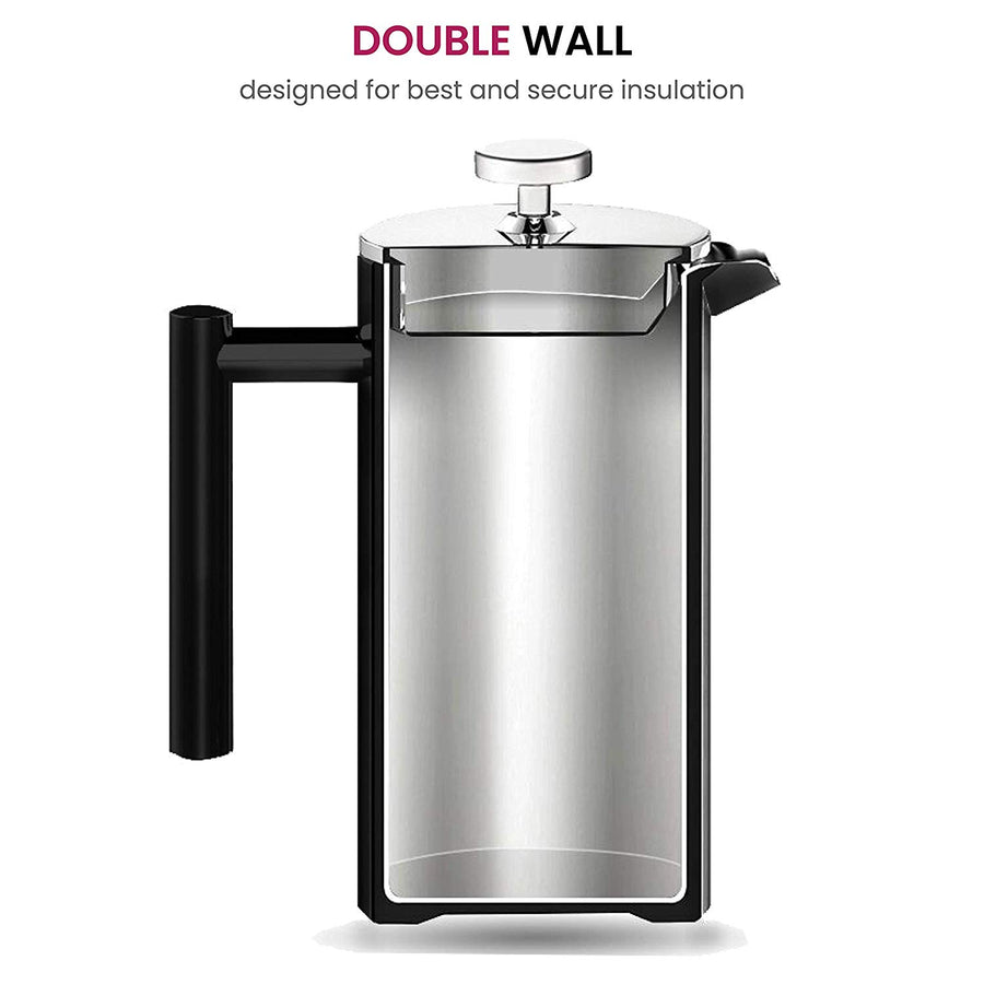 Finedine French Press Coffee Maker - (34-Oz) 18/8 Stainless Steel Double Wall Insulated Retains Heat Longer