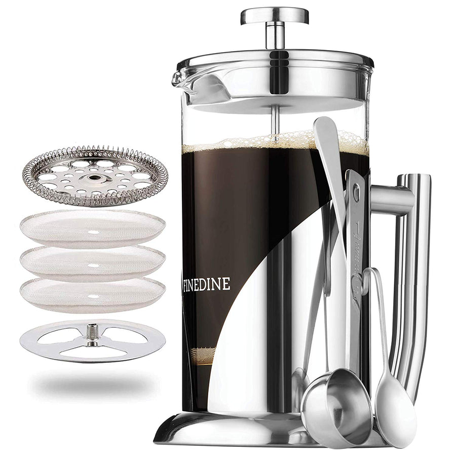 Finedine Glass French Press Coffee Maker - Stainless Steel, with 34 Ounce Borosilicate Glass Heat Resistant Beaker