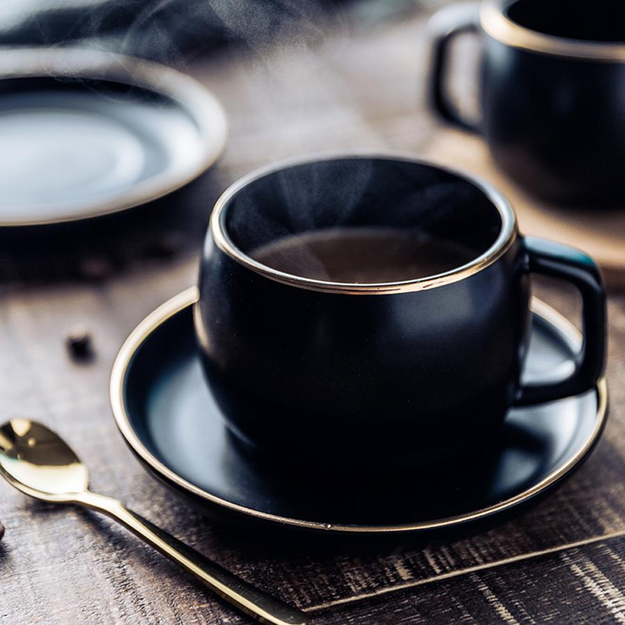 Ceramic Coffee Cup and Saucer Black Pigmented Porcelain Cup Set