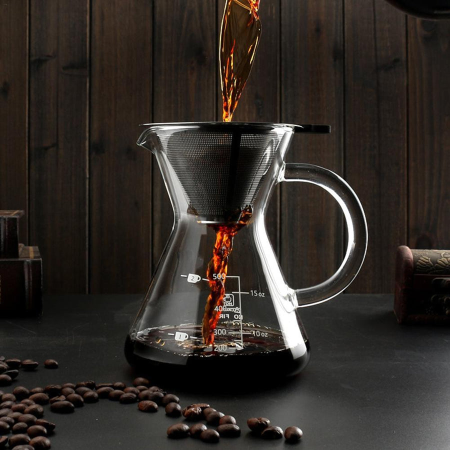 400ml Pour Over Coffee Maker With Stainless Steel Filter Fine Mesh Filter