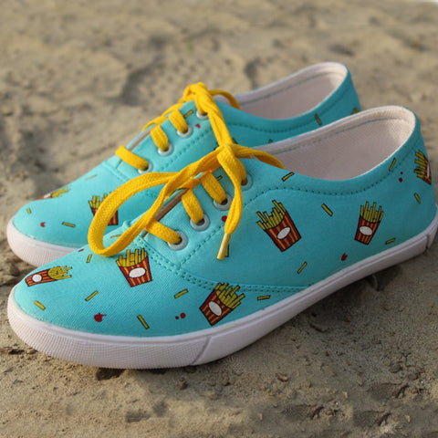 French Fries Pattern Women Shoe